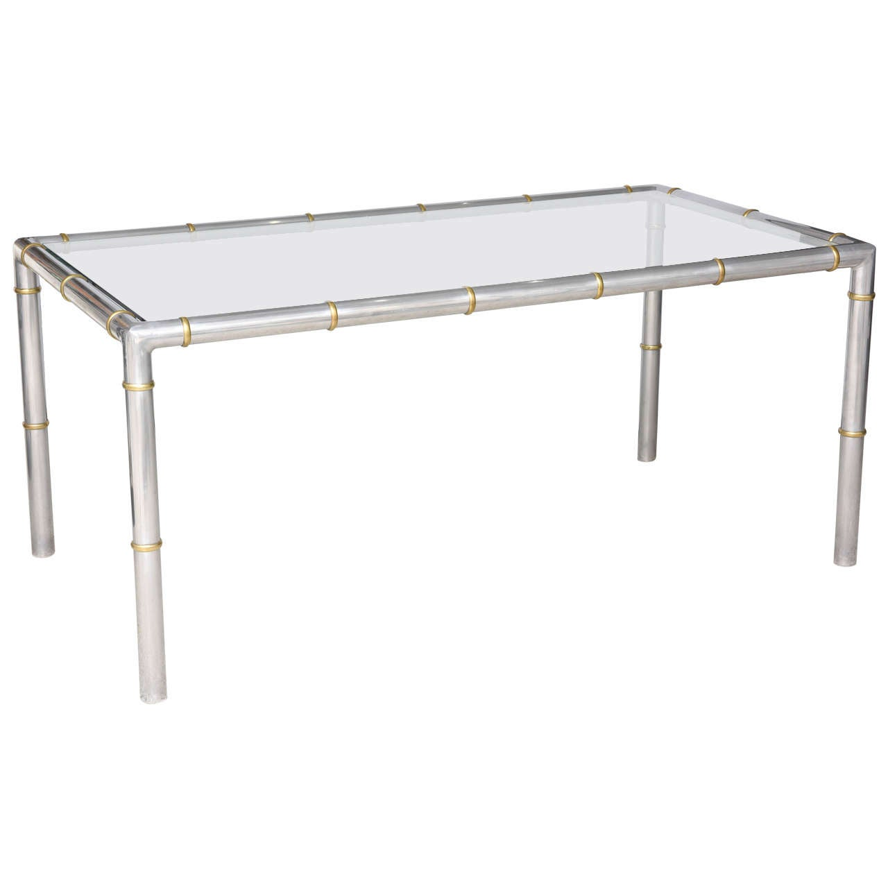 Hollywood Regency Style Faux Bamboo Rectangular Dining Table Aluminum