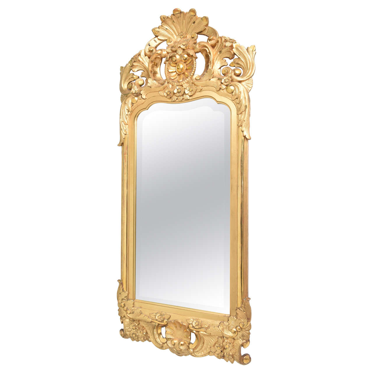 19th century water gilt swedish mirror with original for Beveled glass mirror