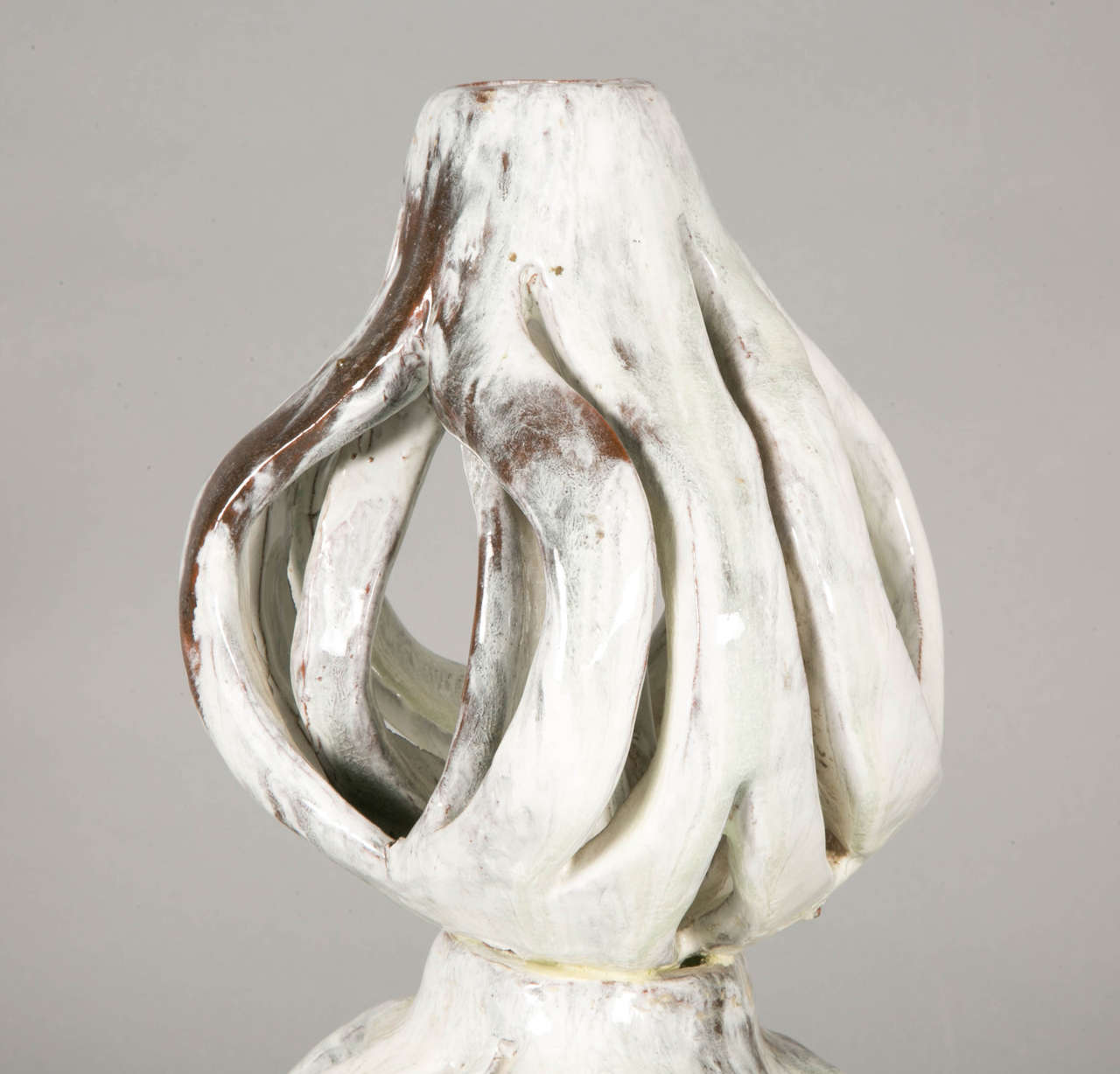 French Enameled Stoneware Sculpture by Alice Colonieu For Sale