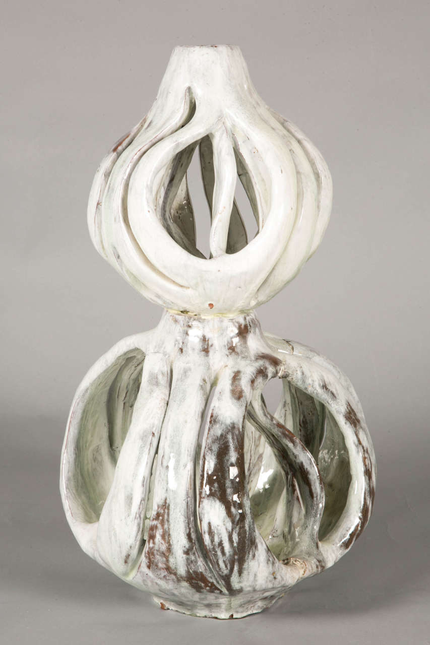 Enameled Stoneware Sculpture by Alice Colonieu In Good Condition For Sale In Paris, FR