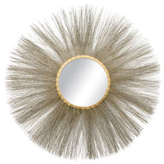 Circular Gilt Brass Mirror, Italy, 1950