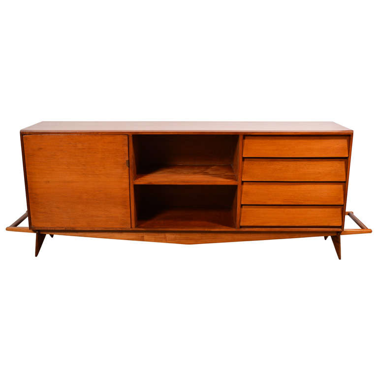 Credenza in caviona wood. Designed by Carlo Hauner and Martin Eisler for Forma, Brazil, 1950s.