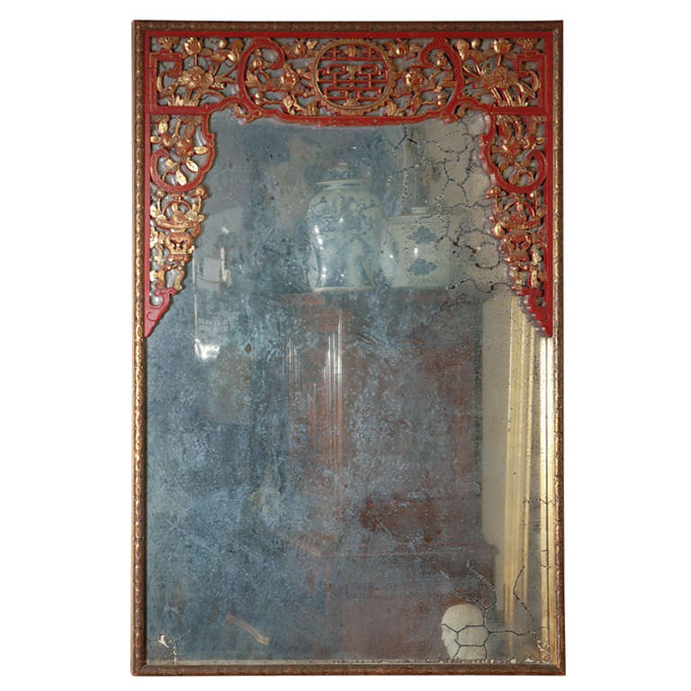Large decorative chinese style mirror for sale at 1stdibs Large wooden mirrors for sale