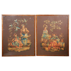 Pair of Chinoiserie Watercolor Panels