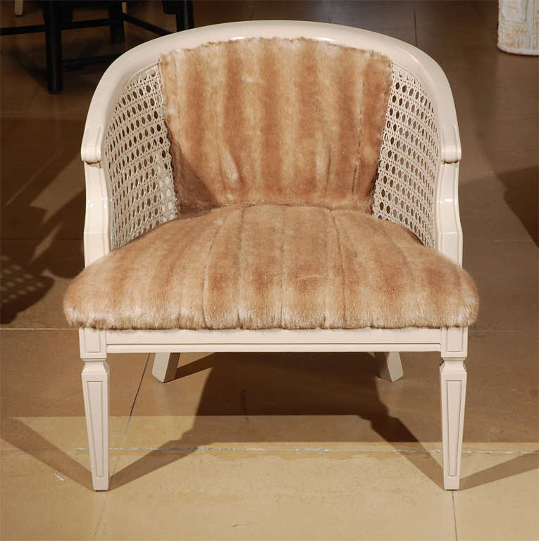 Vintage Classic Cane Back Barrel Chair With Faux Fur Upholstery For Sale At  1stdibs