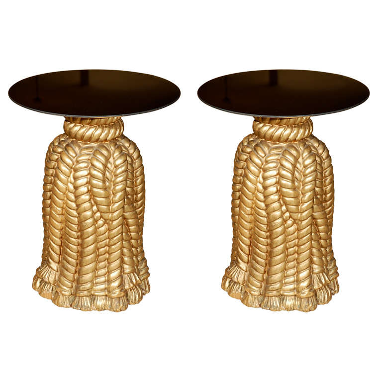 Pair Of Gilt Gold Draped Tassel Mirror Top Side Tables At 1stdibs
