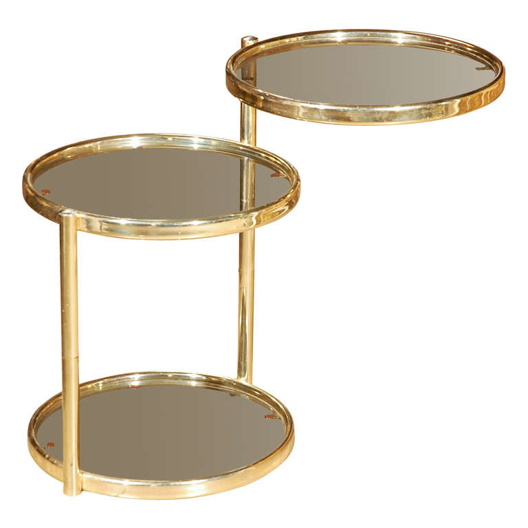 S brass swivel go end table at stdibs