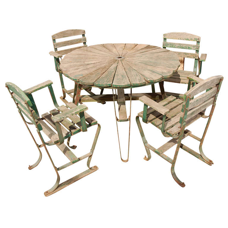 Set Of Four Wooden Arm Chair And Round Table At 1stdibs