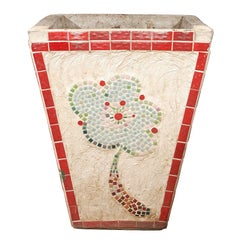Argentinean Red Tile Planter with Mosaic Design