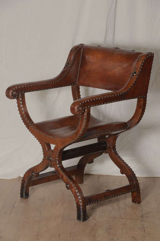 Fantastic And Unusual Leather X Frame Chair Spanish Origin With Amazing Patina