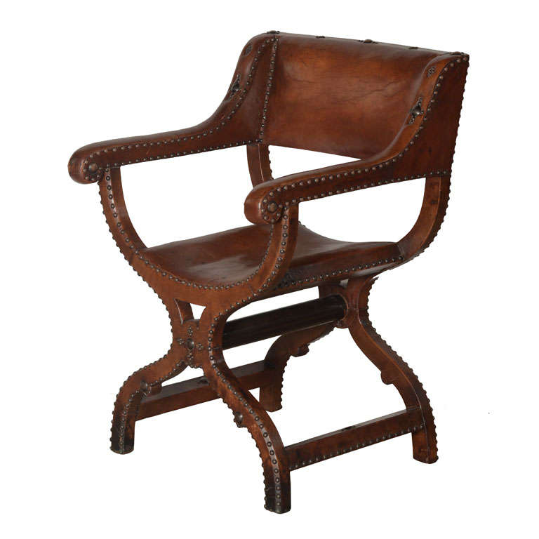 X Frame Studded Leather Chair at 1stdibs