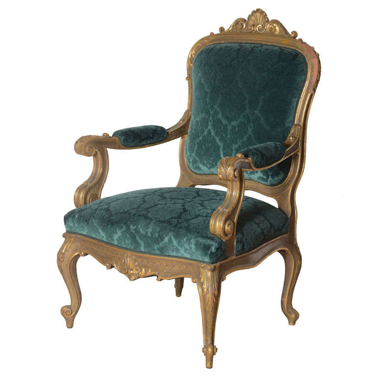 19th Century Italian Baroque Armchair In Peacock Blue For Sale