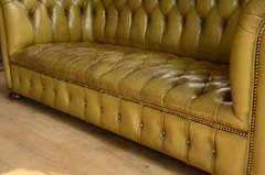 Chesterfield sofa in chartreuse green leather image 8