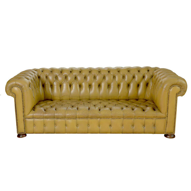 chesterfield sofa in chartreuse green leather at 1stdibs