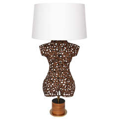 Italian 1960s Sculptural Torso Patinated Metal Table Lamp