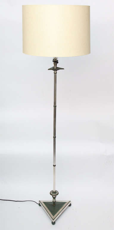 A 1920s Art Deco silvered and patinated bronze floor lamp. New sockets and rewired Shade not included