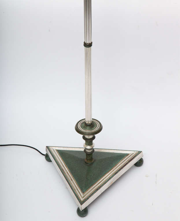 American Floor Lamp Art Deco silvered and patinated bronze 1920's For Sale