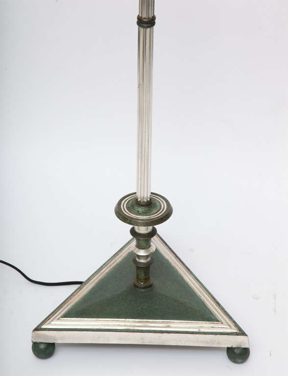 Floor Lamp Art Deco silvered and patinated bronze 1920's In Good Condition For Sale In New York, NY