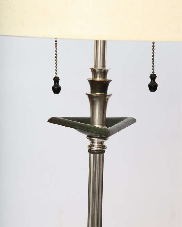 20th Century Floor Lamp Art Deco silvered and patinated bronze 1920's For Sale