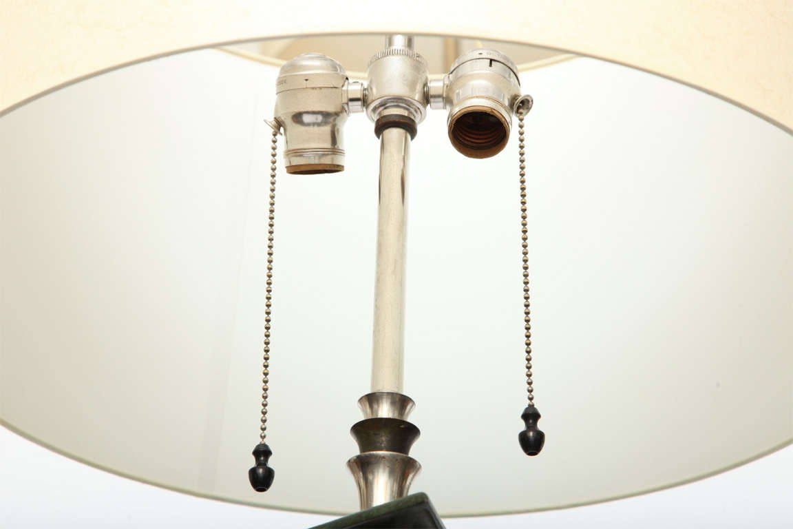 Floor Lamp Art Deco silvered and patinated bronze 1920's For Sale 1
