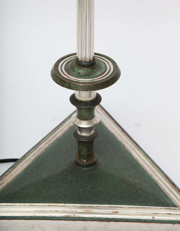 Floor Lamp Art Deco silvered and patinated bronze 1920's For Sale 3