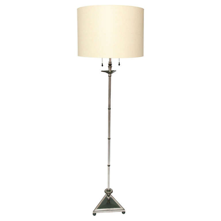 Floor Lamp Art Deco silvered and patinated bronze 1920's For Sale