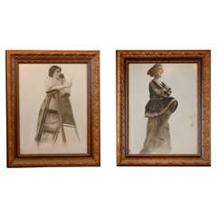 Pair of Victorian Portrait Drawings