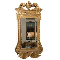 Large Georgian Gilt Mirror with Swan Neck Pediment & Crest
