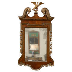 Georgian Style Walnut and Gilt Mirror with Eagle Crest and Swan Neck Pediment