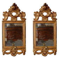 Pair of Petite Neoclassical Gilt-wood Mirrors with Sconces