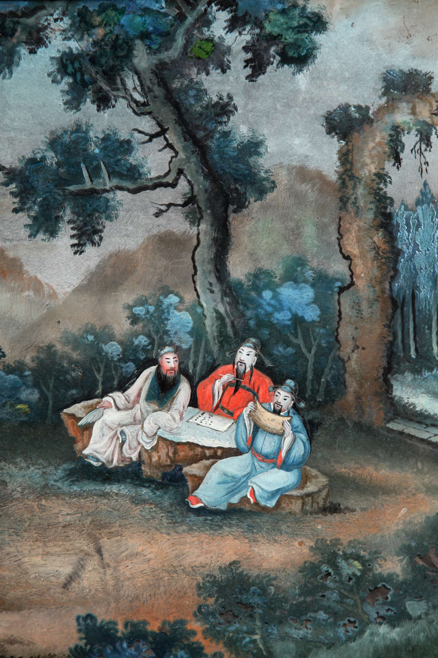 Chinese Export Reverse Glass Painting 4