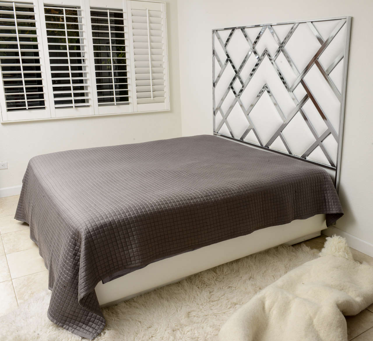 King Size D.I.A Headboard in Chrome and Faux Leather 2
