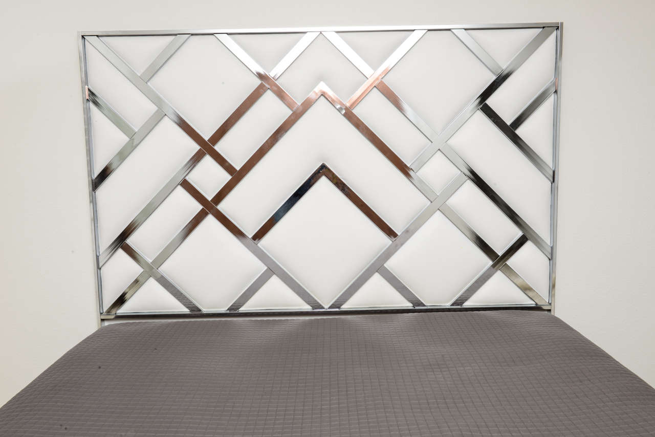 King Size D.I.A Headboard in Chrome and Faux Leather 4
