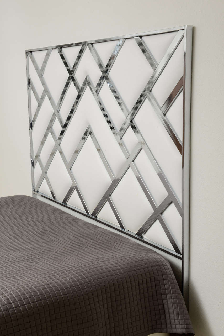 King Size D.I.A Headboard in Chrome and Faux Leather 5
