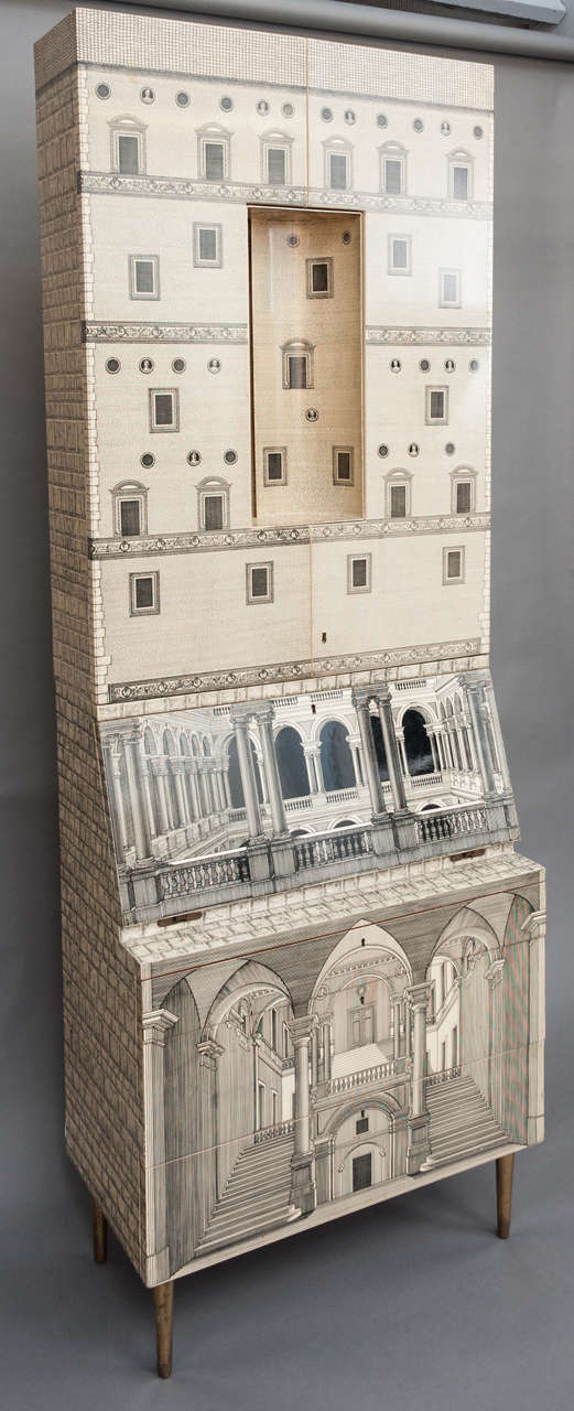 A rare and early Trumeau by Piero Fornasetti, collaborating with Gio Ponti.