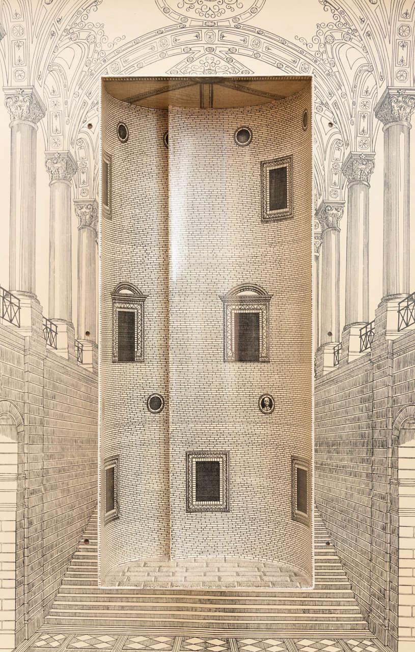 Piero Fornasetti trumeau architettura, Italy circa 1959 In Good Condition For Sale In Macclesfield, Cheshire