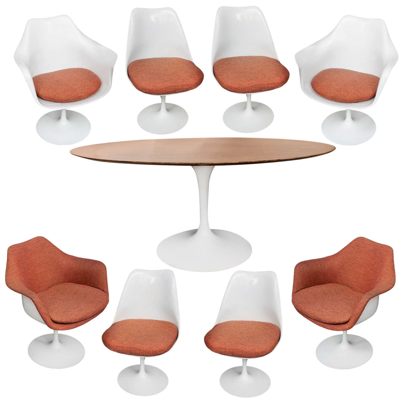 A Tulip Dining Table With Eight Chairsdesigned By Eero Saarinen For - Tulip chair and table set