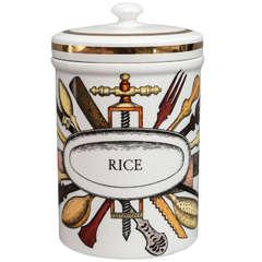 Piero Fornasetti porcelain rice jar and cover, Italy circa 1960