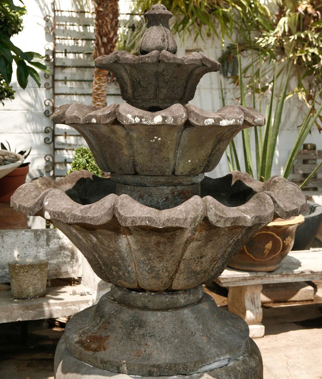 Indonesian Volcanic Stone Fountain For Sale
