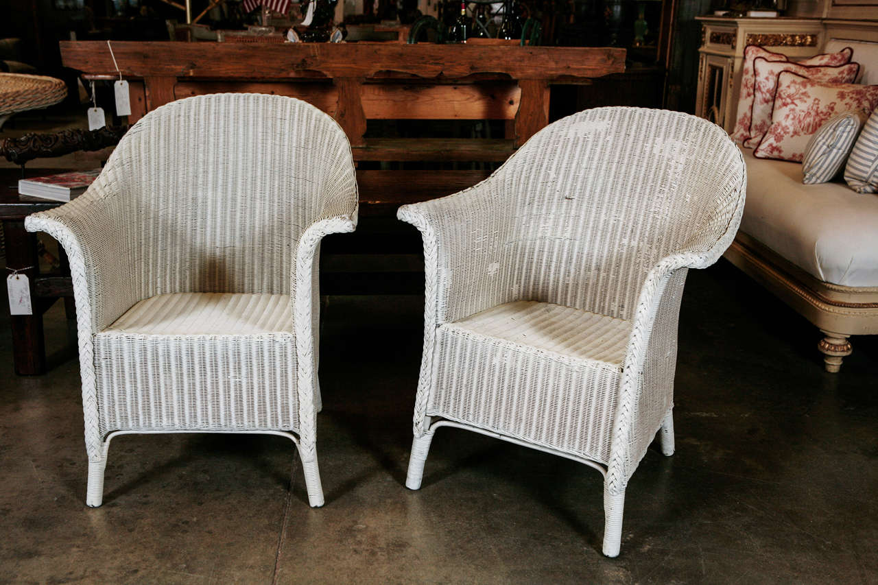 Pair Wicker Arm Chairs By Lloyd Loom At 1stdibs