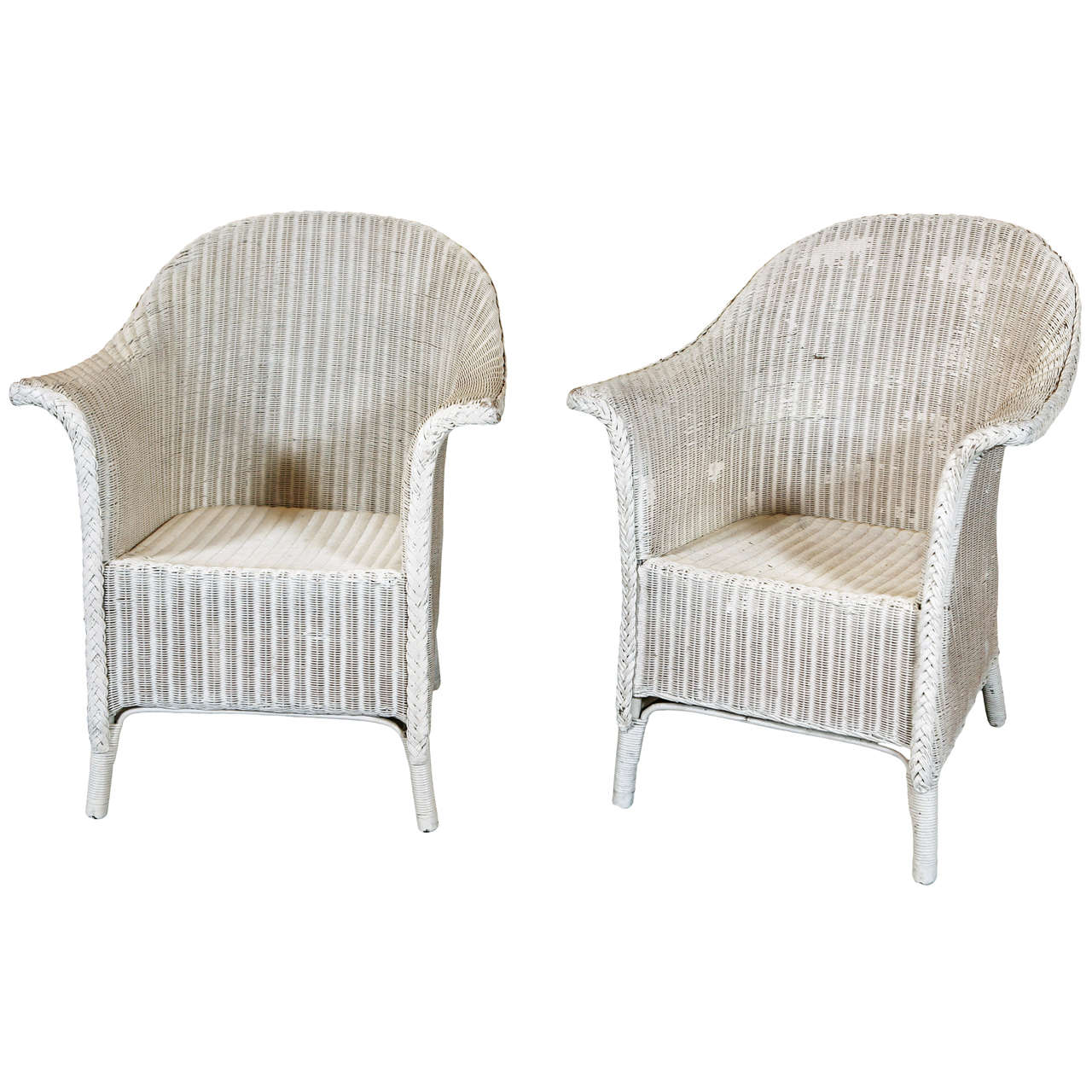 pair wicker arm chairs by lloyd loom at 1stdibs. Black Bedroom Furniture Sets. Home Design Ideas
