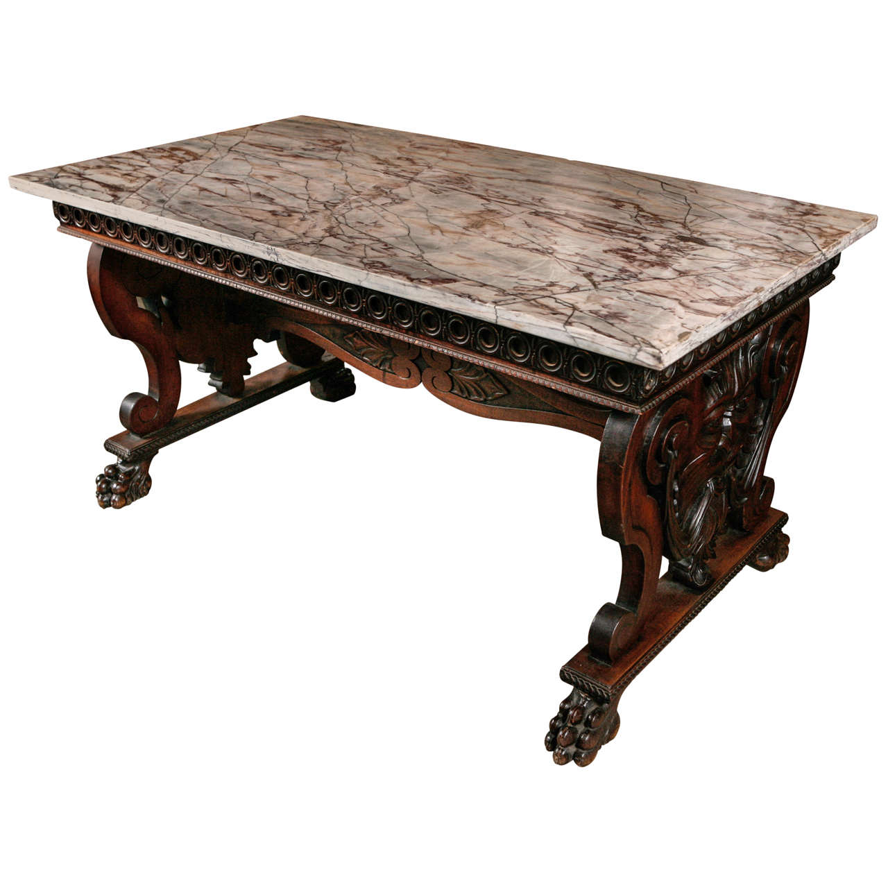 Antique Carved Library Table / Desk With Marble Top For Sale