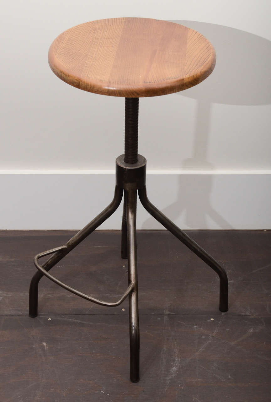 Industrial stool with adjustable wooden seat at stdibs