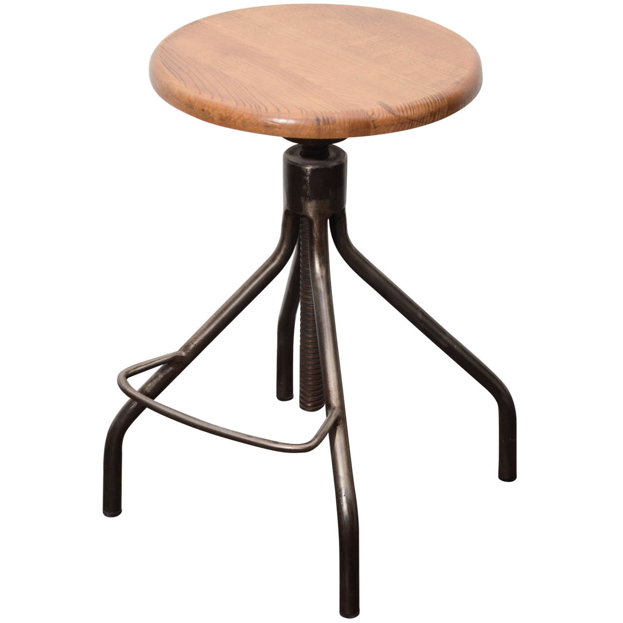 Industrial Stool With Adjustable Wooden Seat At 1stdibs