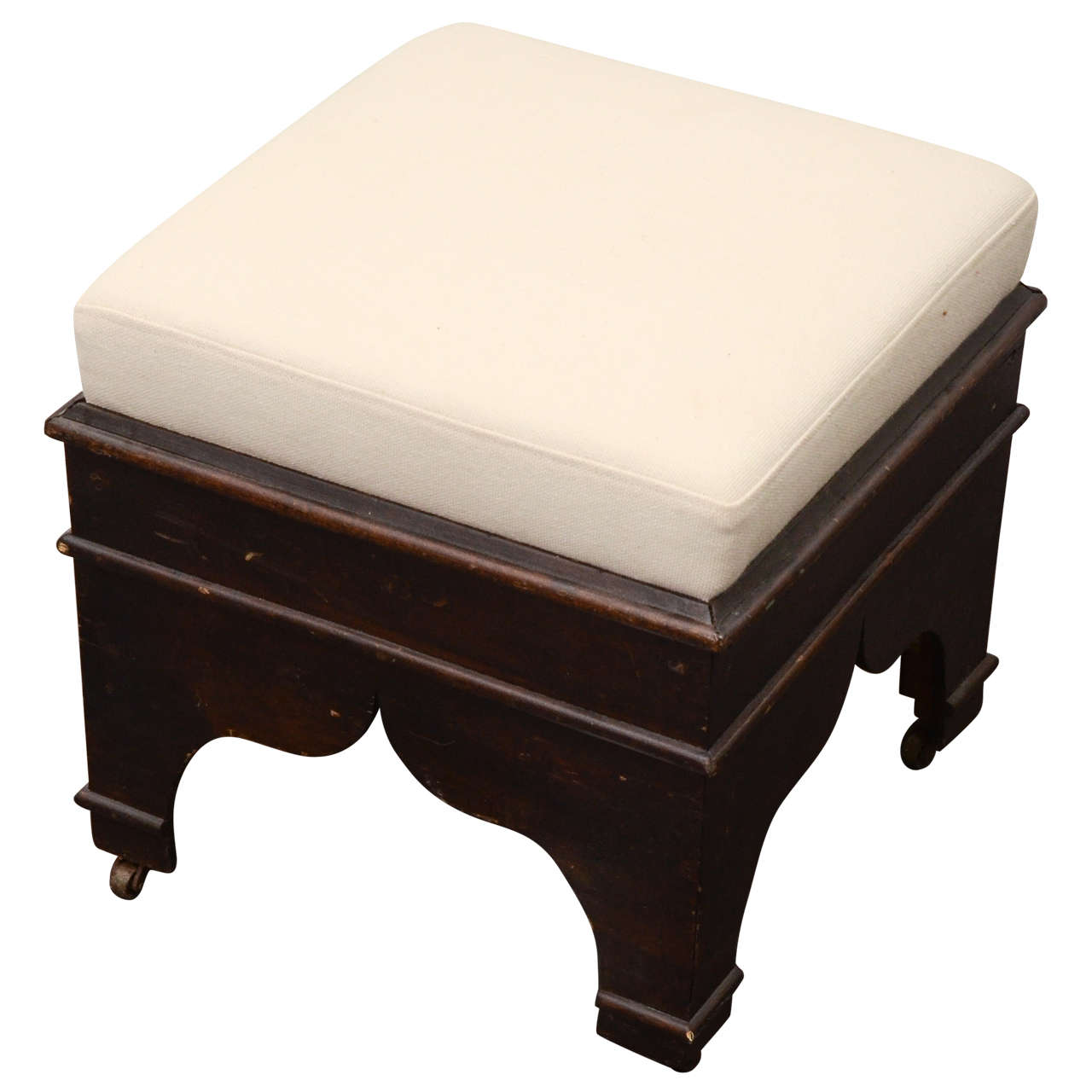 Wooden stool with cream colored upholstery for sale at 1stdibs Cream wooden furniture