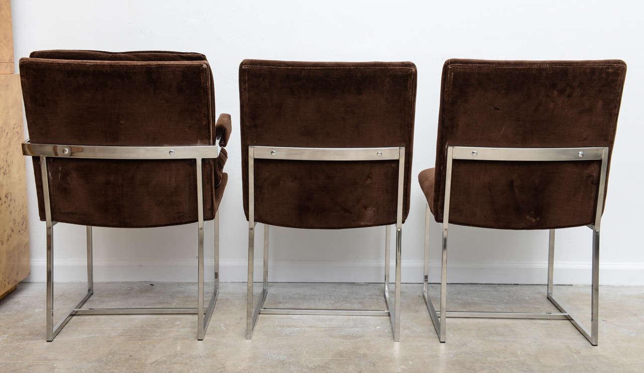 Simple Minimalist Dining Set: Minimalist Milo Baughman Dining Chairs Set Of Six At 1stdibs