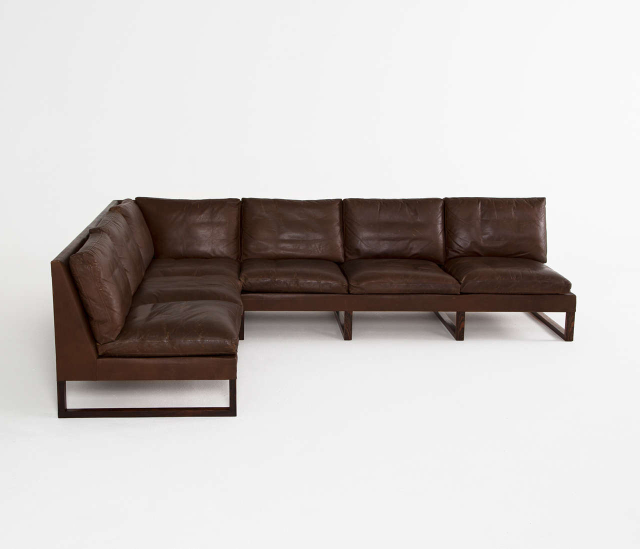 Danish Mid Century Cornersofa In Dark Brown Leather At 1stdibs