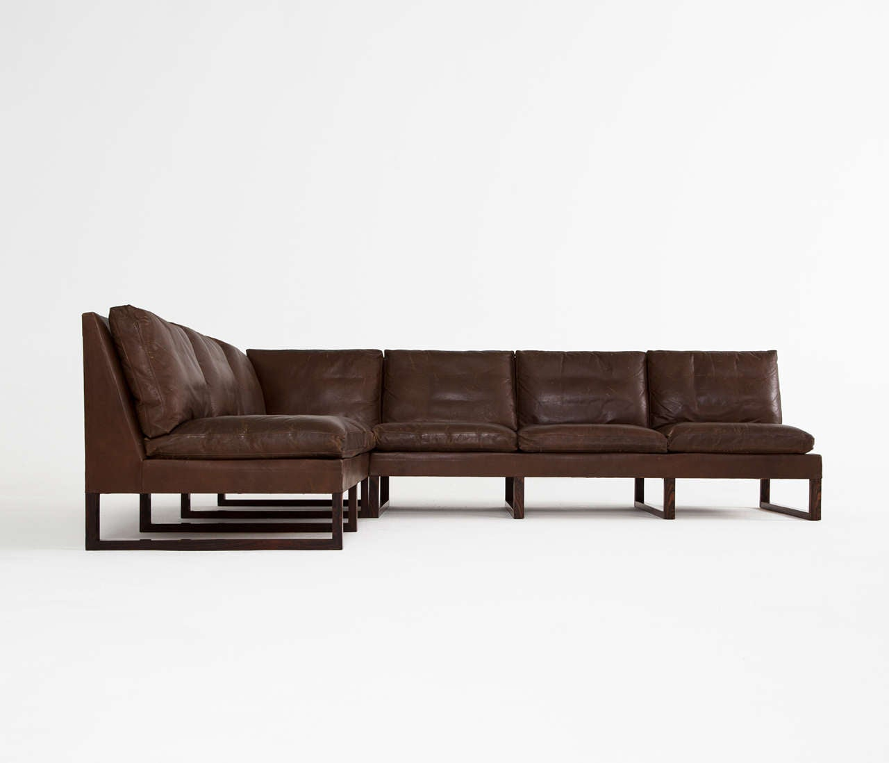 Danish Mid Century Cornersofa In Dark Brown Leather In Excellent Condition  For Sale In Waalwijk