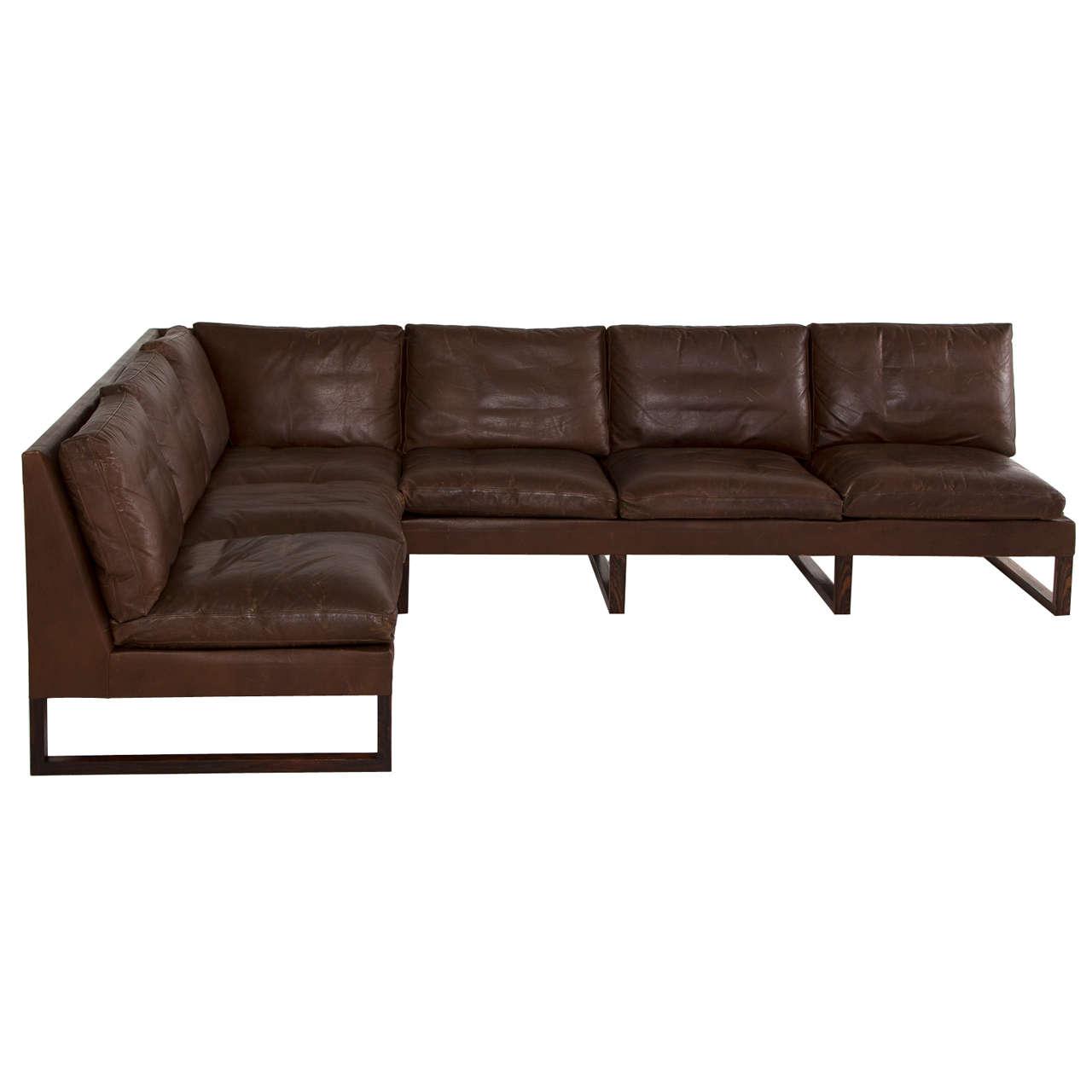 Danish Mid Century Cornersofa In Dark Brown Leather For Sale