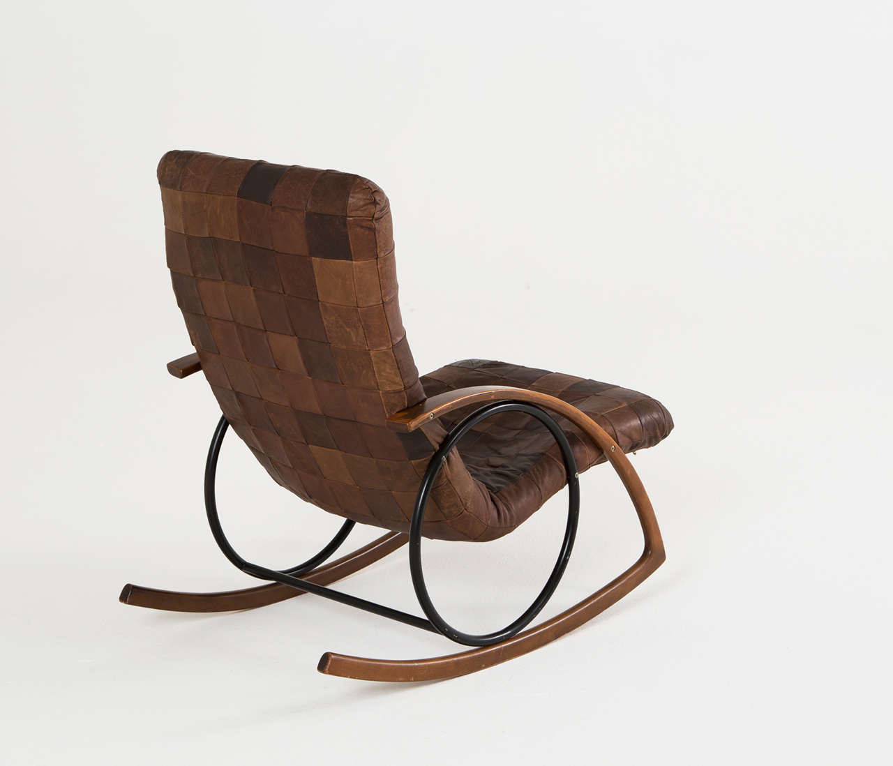 Rocking chair in brown leather patchwork at stdibs